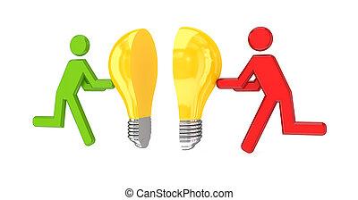 3d, klein, leute, mit, idee, symbol, in, a, hände