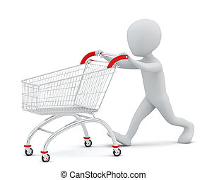 3d, klein, leute, -, shoppen, cart.