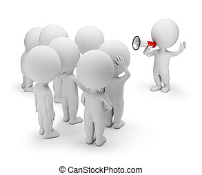 3d, klein, leute, -, sprechende , mit, der, crowd