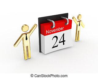 3d, klein, leute, und, calendar.