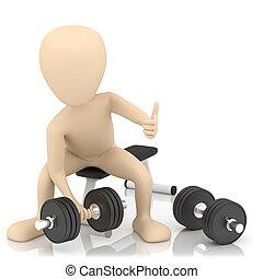3d, klein, person, hebt, weights.
