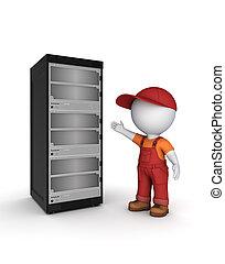 3d, klein, person, in, workwear, bei, server.