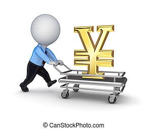3d, klein, person, mit, a, symbol, von, yen.