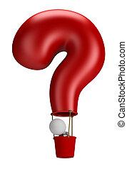 3d, kleine, mensen, -, balloon, vraag