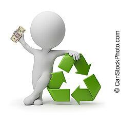 3d, kleine, mensen, -, betaling, voor, recycling