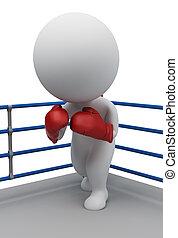 3d, kleine, mensen, -, bokser, op, een, ring