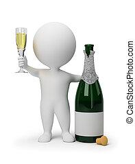 3d, kleine, mensen, -, champagne