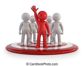 3d, kleine, mensen, -, de leider van het team