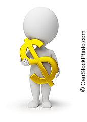 3d, kleine, mensen, -, dollar symbool, in, handen