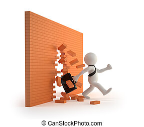 3d, kleine, mensen, -, door, een, baksteen muur