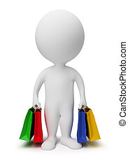 3d, kleine, mensen, -, dragen, het winkelen zakken