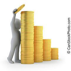 3d, kleine, mensen, -, financieel succes