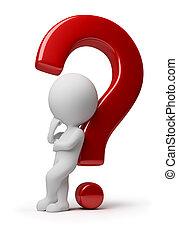 3d, kleine, mensen, -, gecompliceerd, vraag