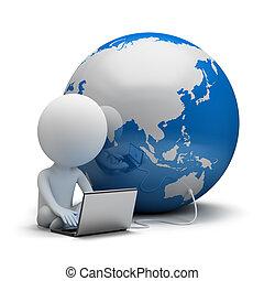 3d, kleine, mensen, -, globale mededeling