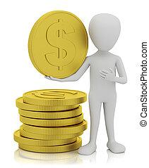 3d, kleine, mensen, -, goud, muntstukken.
