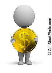 3d, kleine, mensen, -, gouden munt