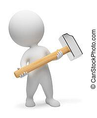 3d, kleine, mensen, -, hamer