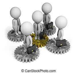 3d, kleine, mensen, -, handel team