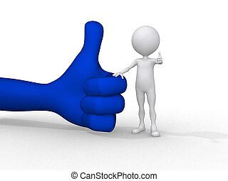 3d, kleine, mensen, holding, een, positief, symbool, 3d,...