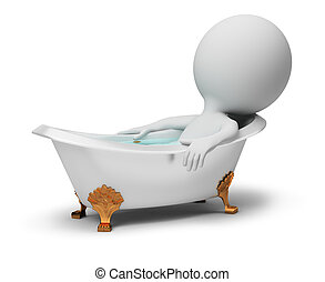 3d, kleine, mensen, -, in, een, bad