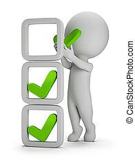 3d, kleine, mensen, -, installatie, van, controleren, tekens