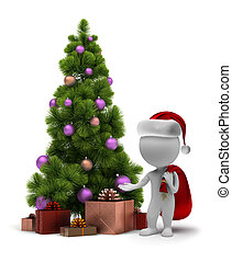 3d, kleine, mensen, -, kerstman, en, een, kerstboom
