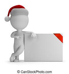 3d, kleine, mensen, -, kerstman, en, lege, plank