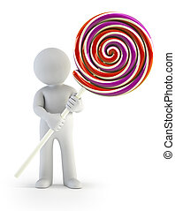 3d, kleine, mensen, -, lollipop