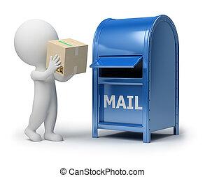 3d, kleine, mensen, -, mailing, een, verpakken