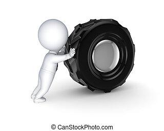 3d, kleine, mensen, met, een, black , wheel.