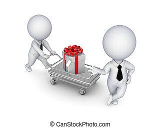 3d, kleine, mensen, met, een, cadeau, box.