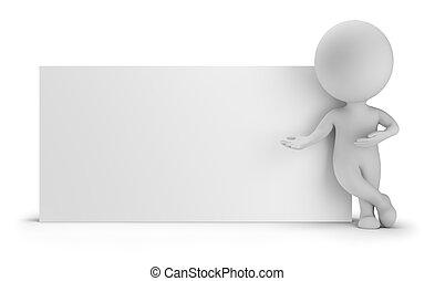 3d, kleine, mensen, -, naast, een, lege, plank