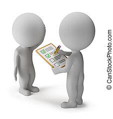 3d, kleine, mensen, -, onderzoeken; inspecteren;