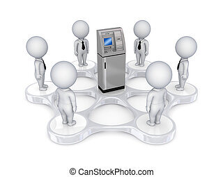 3d, kleine, mensen, ongeveer, pinautomaat