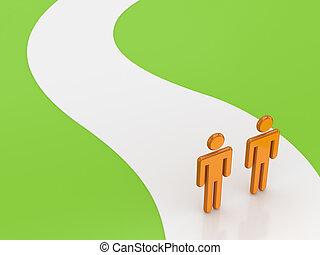 3d, kleine, mensen, op, een, road.