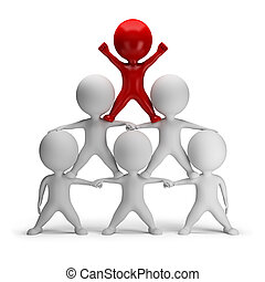 3d, kleine, mensen, -, piramide, van, succes