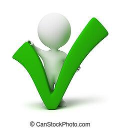 3d, kleine, mensen, -, positief, symbool