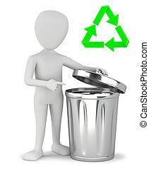 3d, kleine, mensen, -, restafval, recycling.