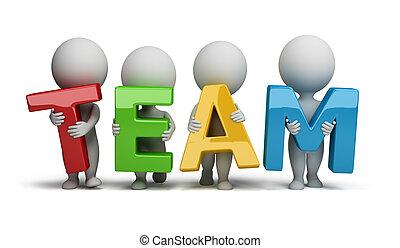 3d, kleine, mensen, -, team