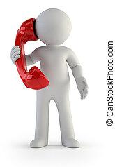 3d, kleine, mensen, -, telefoon, gesprek