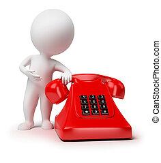 3d, kleine, mensen, -, telefoon