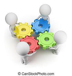 3d, kleine, mensen, -, toestellen, gedraaide