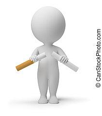 3d, kleine, mensen, -, verbreking, sigaret