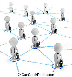 3d, kleine, mensen, -, zakelijk, netwerk