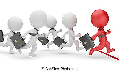 3d, kleine, mensen, -, zakelijk, sprint