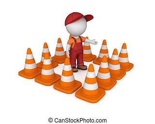 3d, kleine, persoon, en, verkeer, cones.