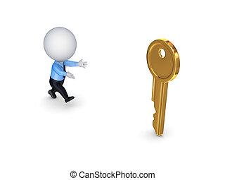 3d, kleine, persoon lopen, om te, een, gouden, key.