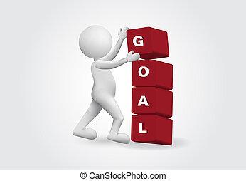 3d, kleine, persoon, met, een, doel, word., succes, concept