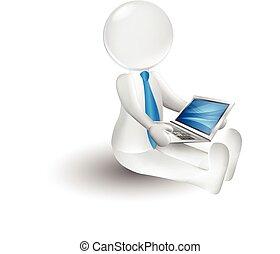 3d, kleine, persoon, met, een, draagbare computer