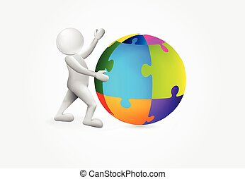 3d, kleine, persoon, met, een, puxxle, globaal, wereld, logo